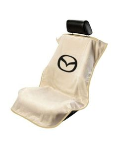 Seat Armour Tan Towel Seat Cover with Mazda Logo - Front-Right View