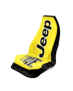 Seat Armour Yellow Towel 2 Go Seat Cover with Jeep Wrangler  Logo - Front-Right View